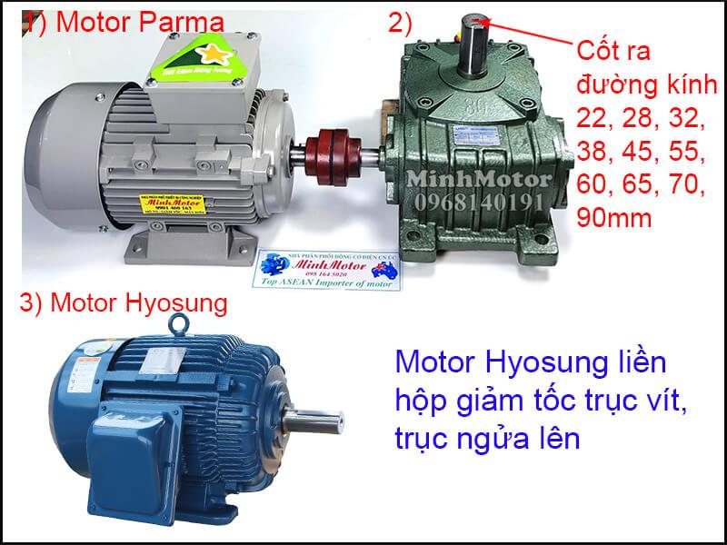 Motor Hyosung 3 Pha chân đế lắp đặt khớp nối