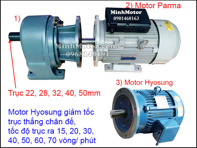 Motor Hyosung giảm tốc trục thẳng