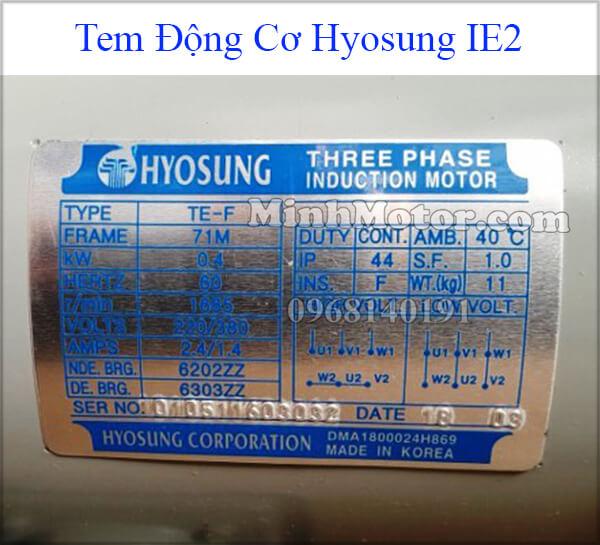 Tem động cơ điện Hyosung IE2 công suất nhỏ