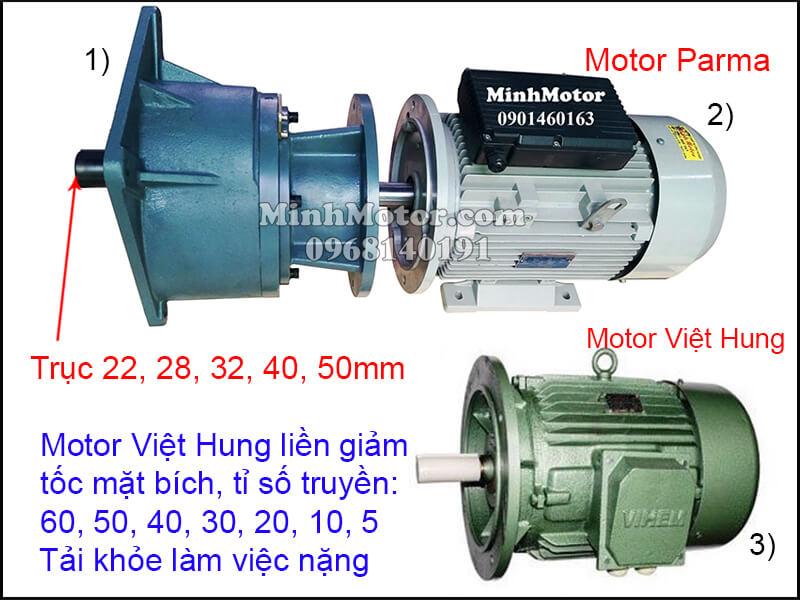 Motor Việt Hung mặt bích gắn hộp số trục thẳng