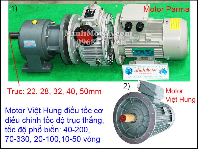 Động cơ Việt Hung mặt bích chỉnh tốc độ trục thẳng