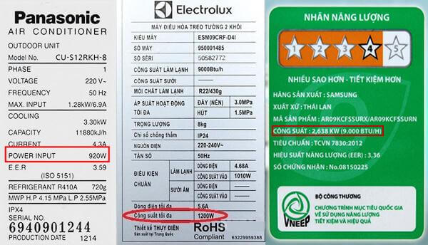 Công suất tiêu thụ của máy lạnh của Panasonic và Electrolux
