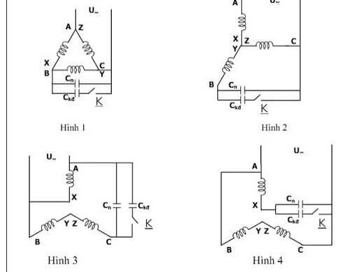 Sơ đồ chuyển đổi sang đấu motor điện 3 pha thành điện 1 pha