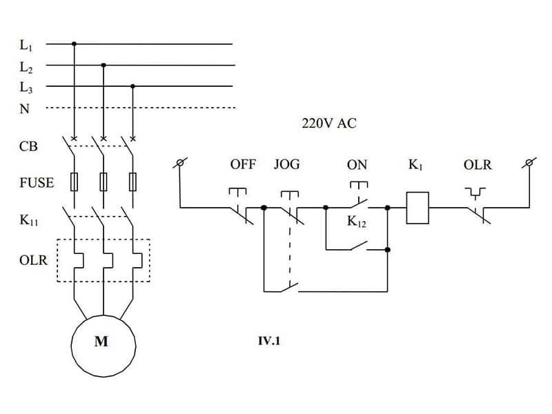 Sơ đồ mở máy trực tiếp để tiến hành khởi động động cơ điện
