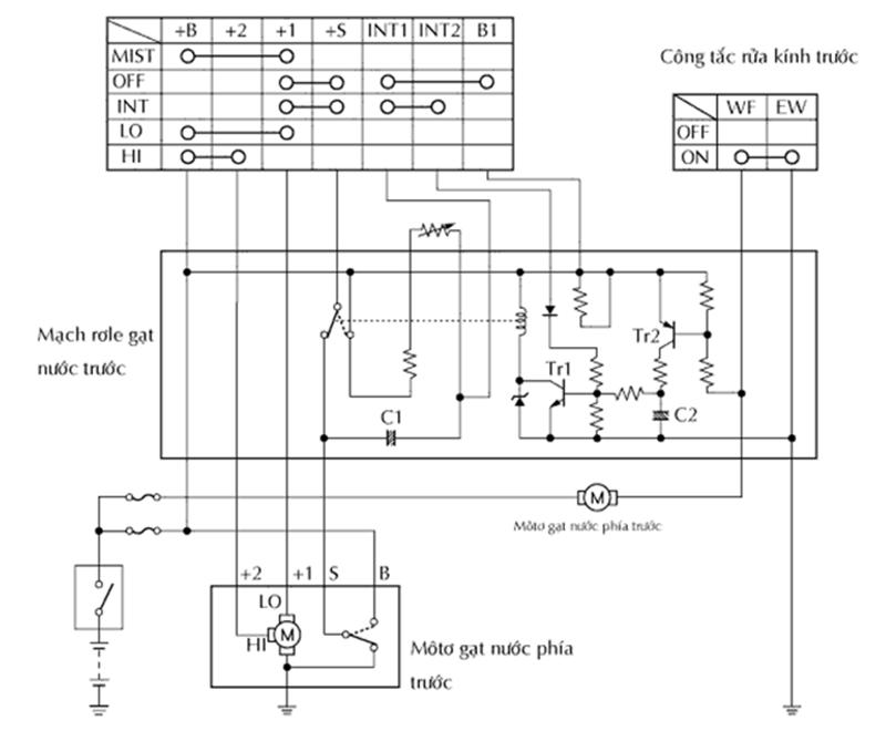 Sơ đồ mạch điện động cơ motor gạt nước ô tô