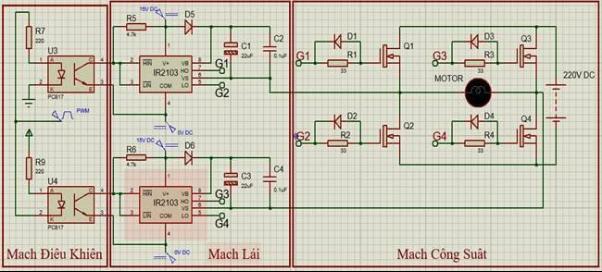 Sơ đồ điều khiển động cơ DC bằng mạch cầu H