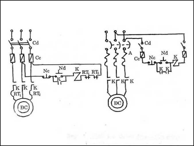 Sơ đồ chi tiết mạch điện điều khiển động cơ lồng sóc quay 1 chiều