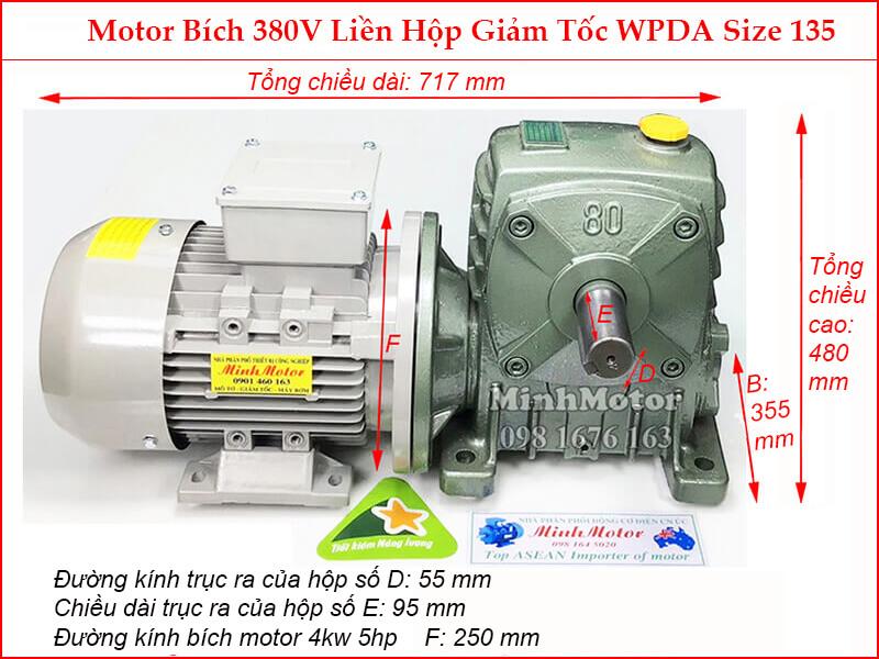 Hộp số WPDA size 155 liền motor