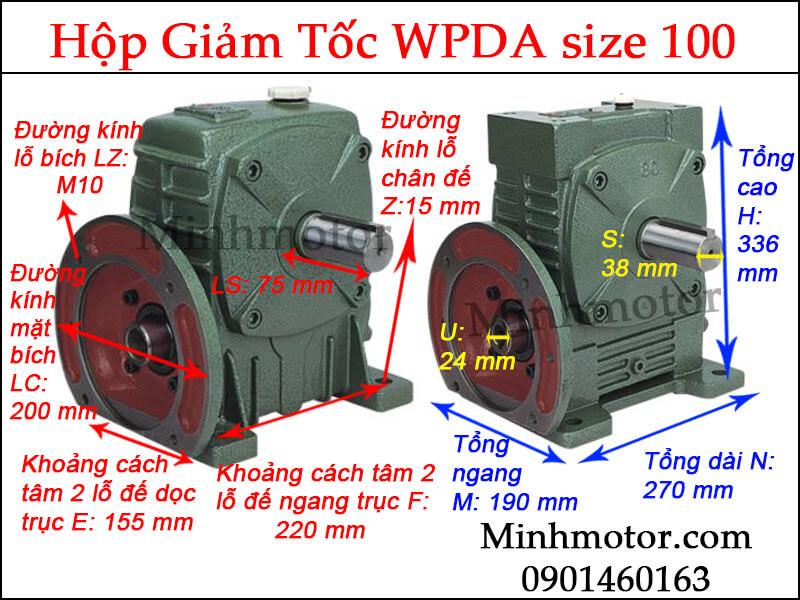 Hộp giảm tốc WPDA size 100