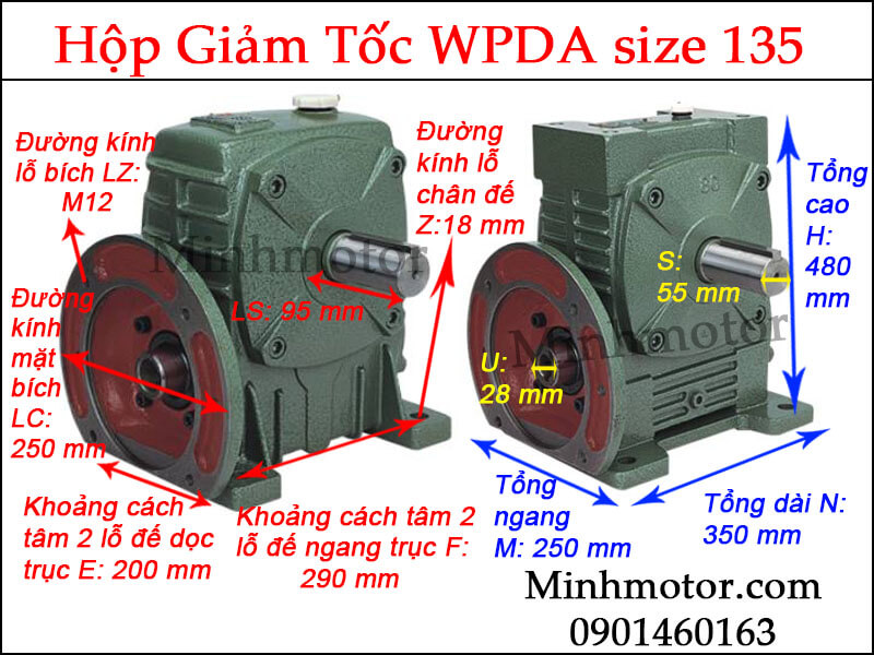 Hộp giảm tốc WPDA size 135