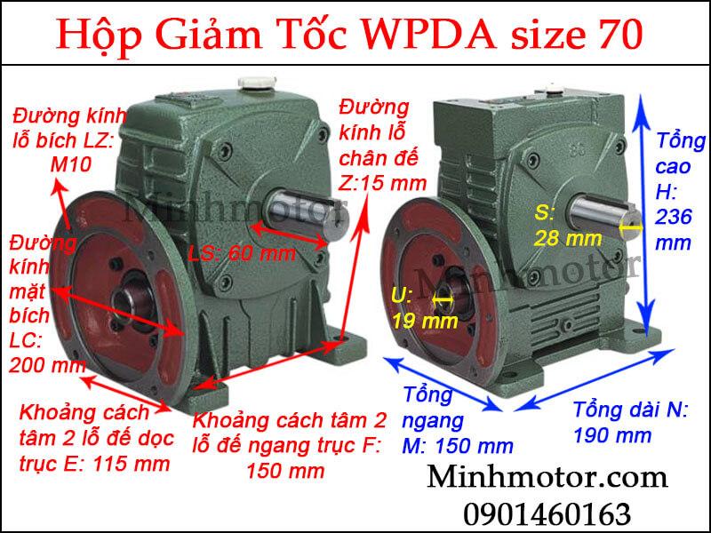 Hộp giảm tốc WPDA size 70