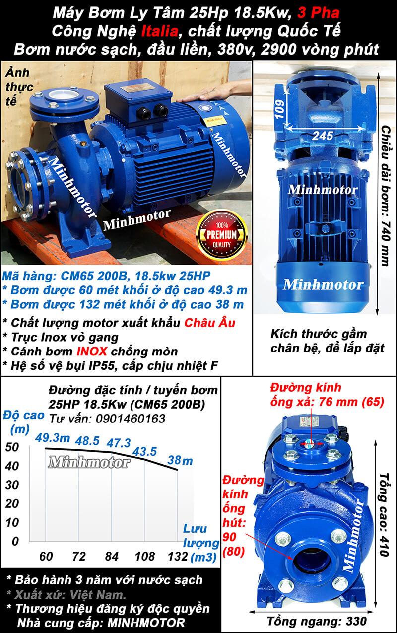 Máy bơm nước 25Hp CM50-250B hút 78 mét khối, đẩy cao 78 mét