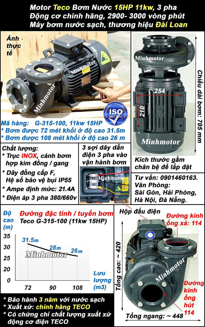 Bơm Teco 15Hp 11Kw G315-100, lưu lượng 108 m3/h, cột áp 31.5m