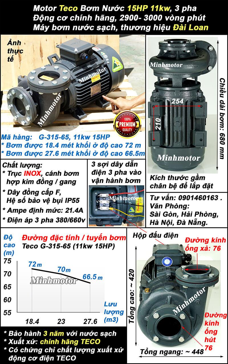Bơm Teco 15Hp 11Kw G315-65 lượng nước 27.6 khối, bơm cao được 72m