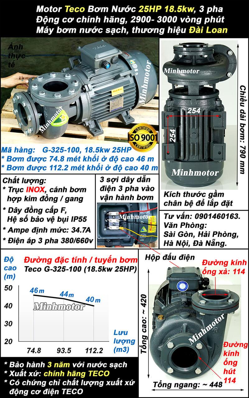 Bơm Teco 25Hp 18.5kw G325-100, lưu lượng 112.2 m3/h, cột áp 46m