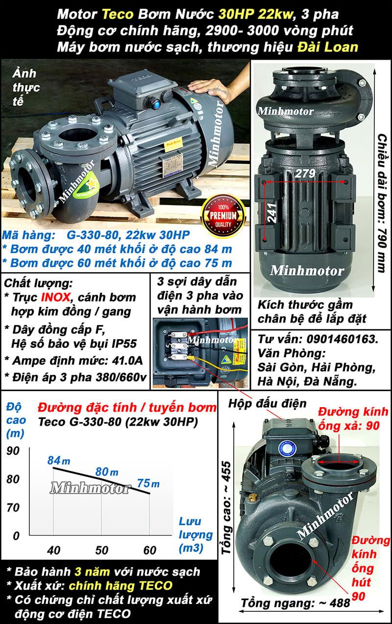 Bơm Teco 25Hp 22Kw G330-80 lượng nước 60 khối, bơm cao được 84m