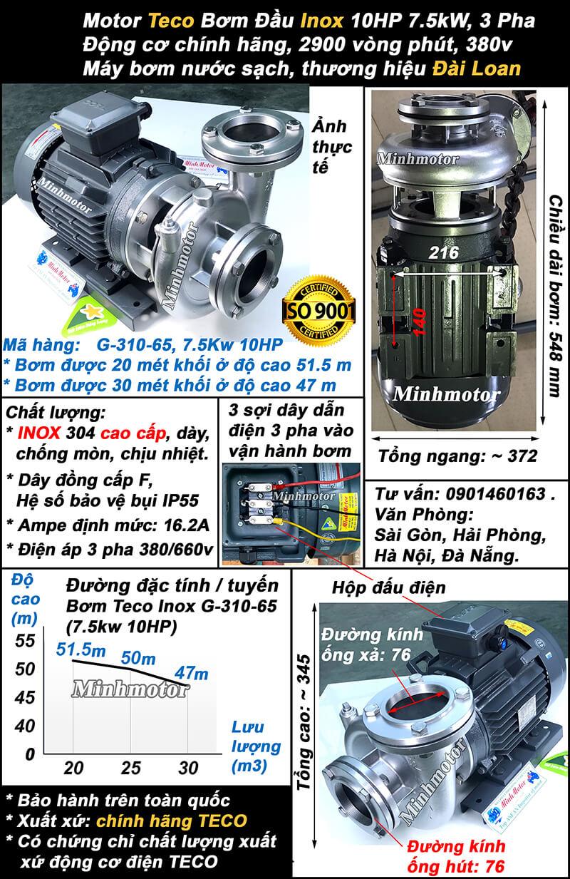 Bơm nước Teco 10Hp 7.5Kw đầu inox G310-65, lưu lượng 30 khối, đẩy cao 51.5m