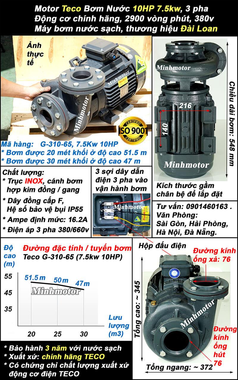 Bơm Teco 10Hp 7.5Kw G310-65 lượng nước 30 khối, bơm cao được 51.5m
