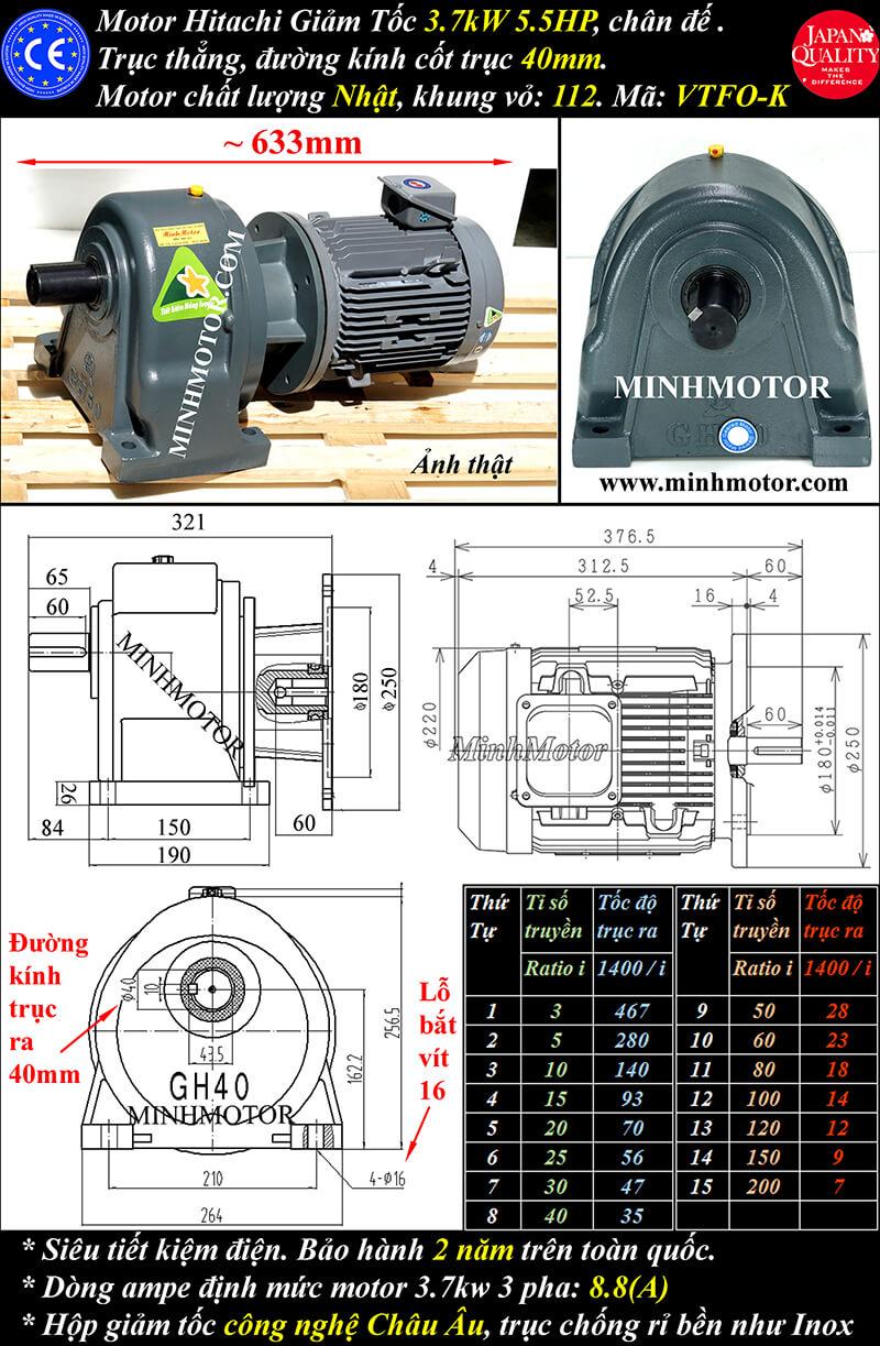 a) Motor giảm tốc hitachi 3.7kw 5hp chân đế trục 40mm