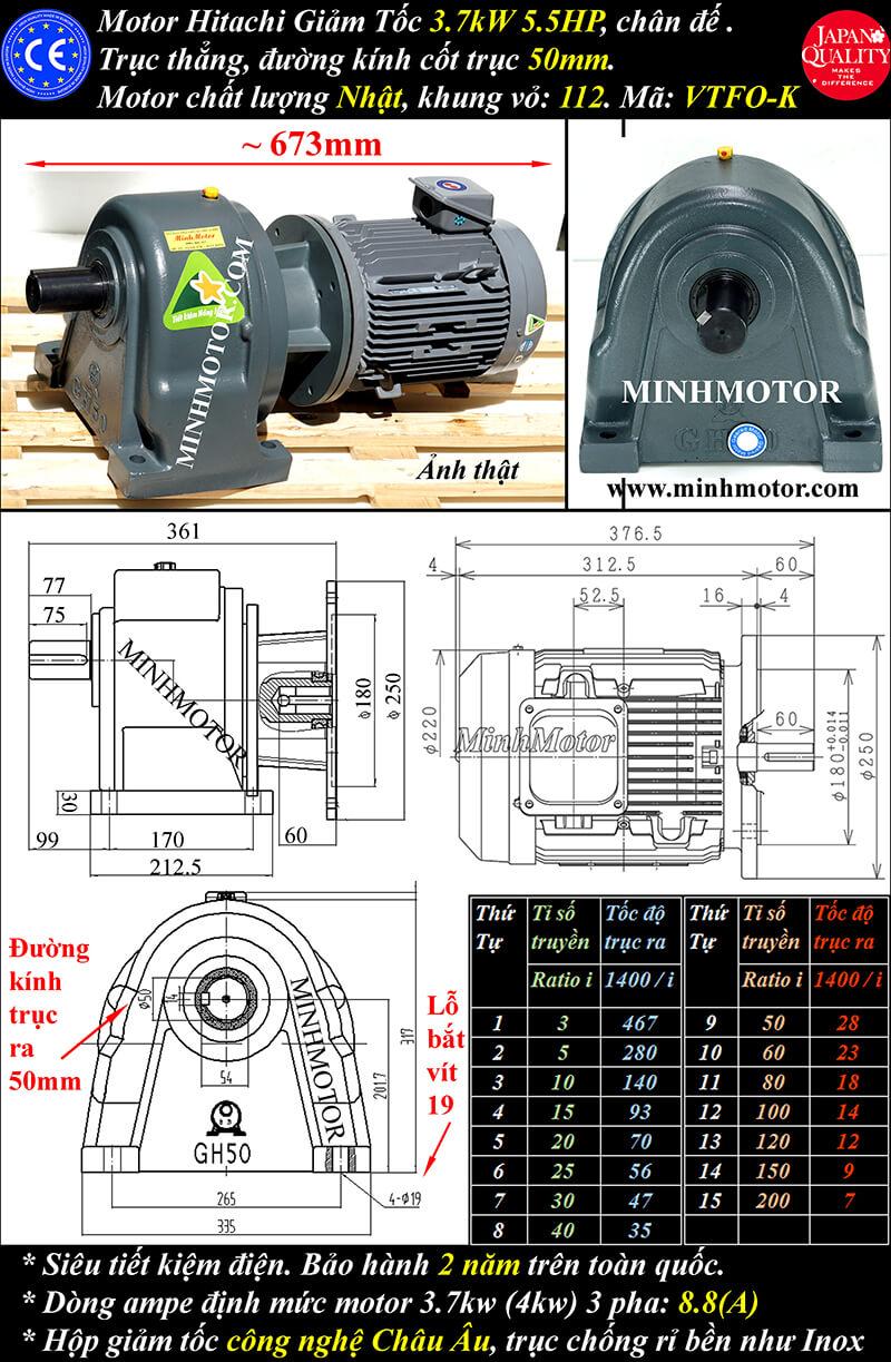b) Motor giảm tốc hitachi 3.7kw 5hp chân đế trục 50mm