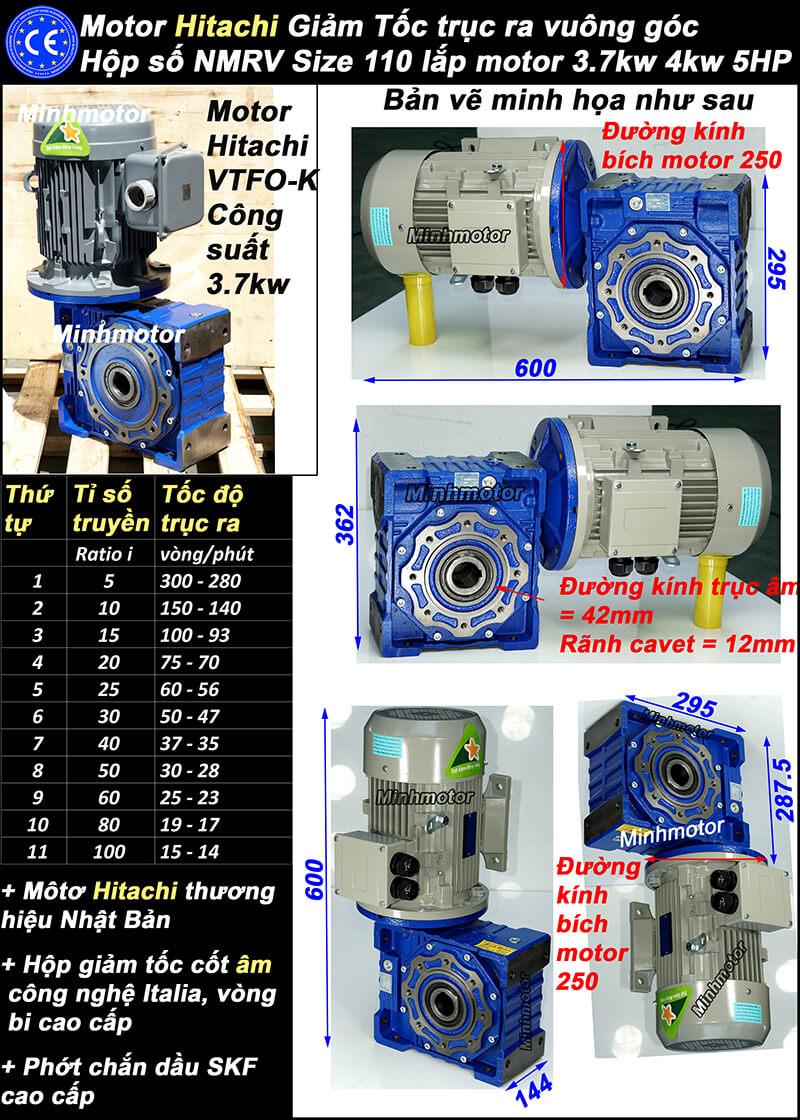 Động cơ hộp số Hitachi 3.7Kw 5Hp NMRV 110 cốt ra vuông góc
