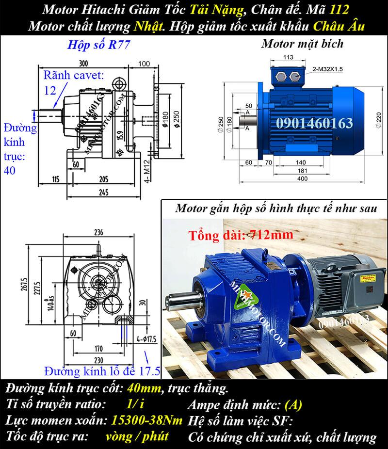 Động cơ điện Hitachi giảm tốc 3.7Kw 5Hp R87, trục thẳng