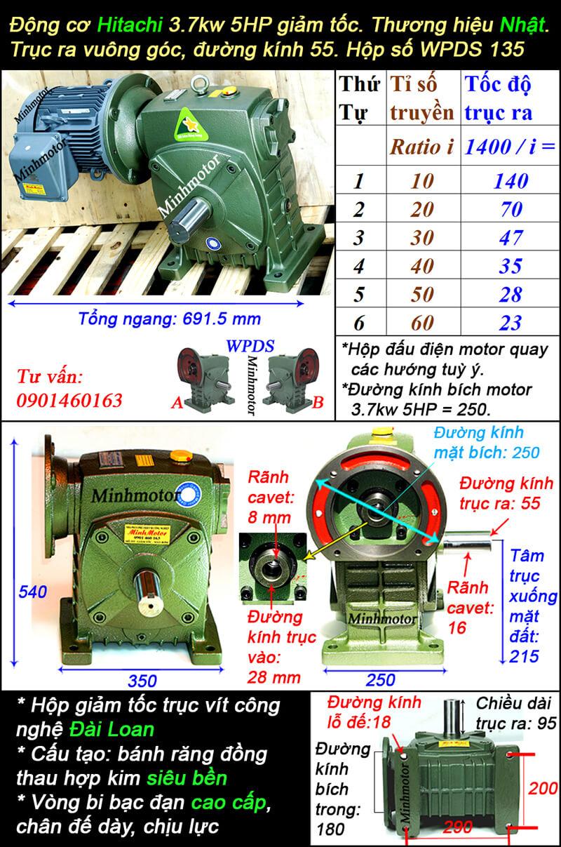Hộp giảm tốc motor Hitachi 3.7Kw 5Hp WPDS, cốt dương size 135
