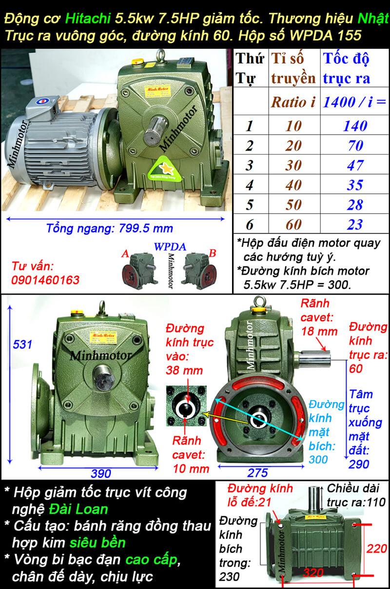Motor hộp số Hitachi 5.5Kw 7.5Hp trục vít WPDA
