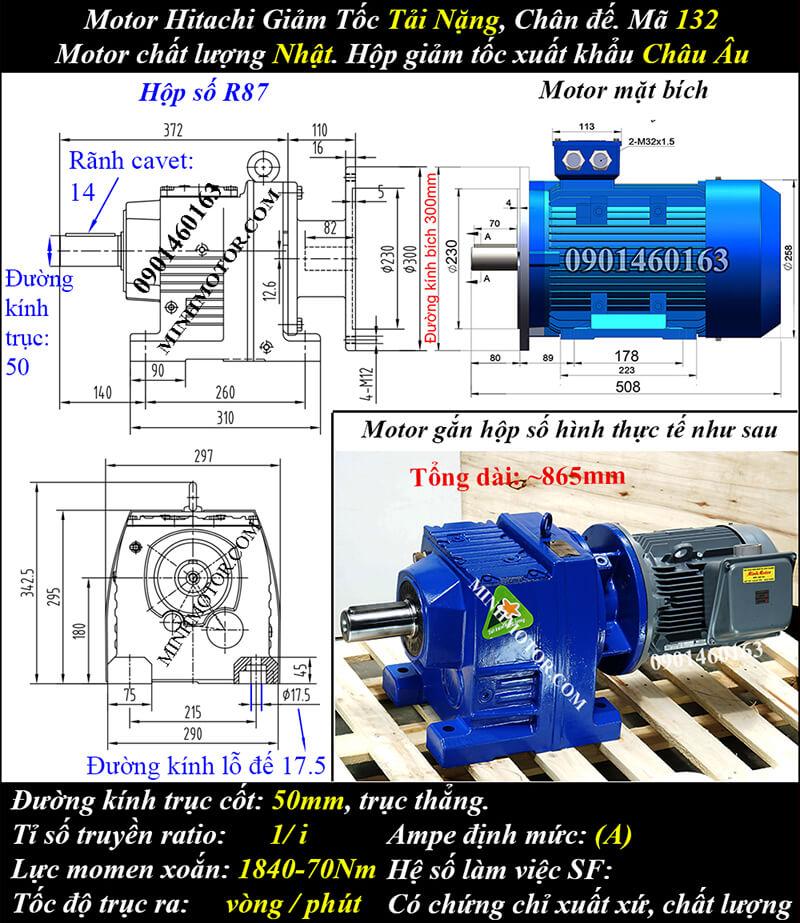 Động cơ điện Hitachi giảm tốc 5.5Kw 7.5Hp R97, trục thẳng