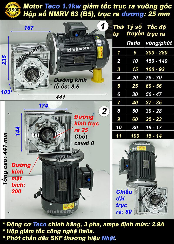 Động cơ giảm tốc Teco 1.5hp 1.1kw trục vuông góc trục dương