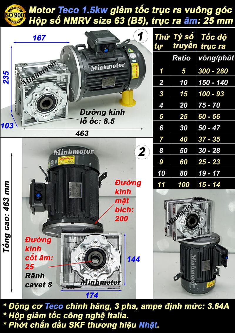 Motor giảm tốc Teco 1.5kw 2hp trục vuông góc trục âm size 63