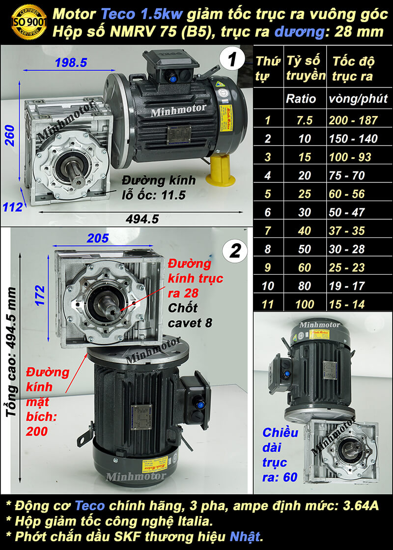 Động cơ giảm tốc Teco 2hp 1.5kw trục vuông góc trục dương