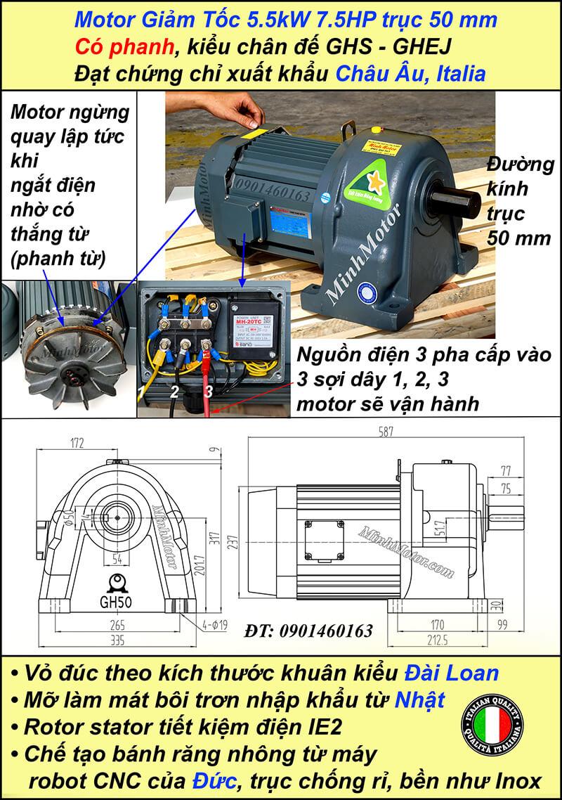 Động cơ giảm tốc có phanh 5.5kw 7.5HP chân đế