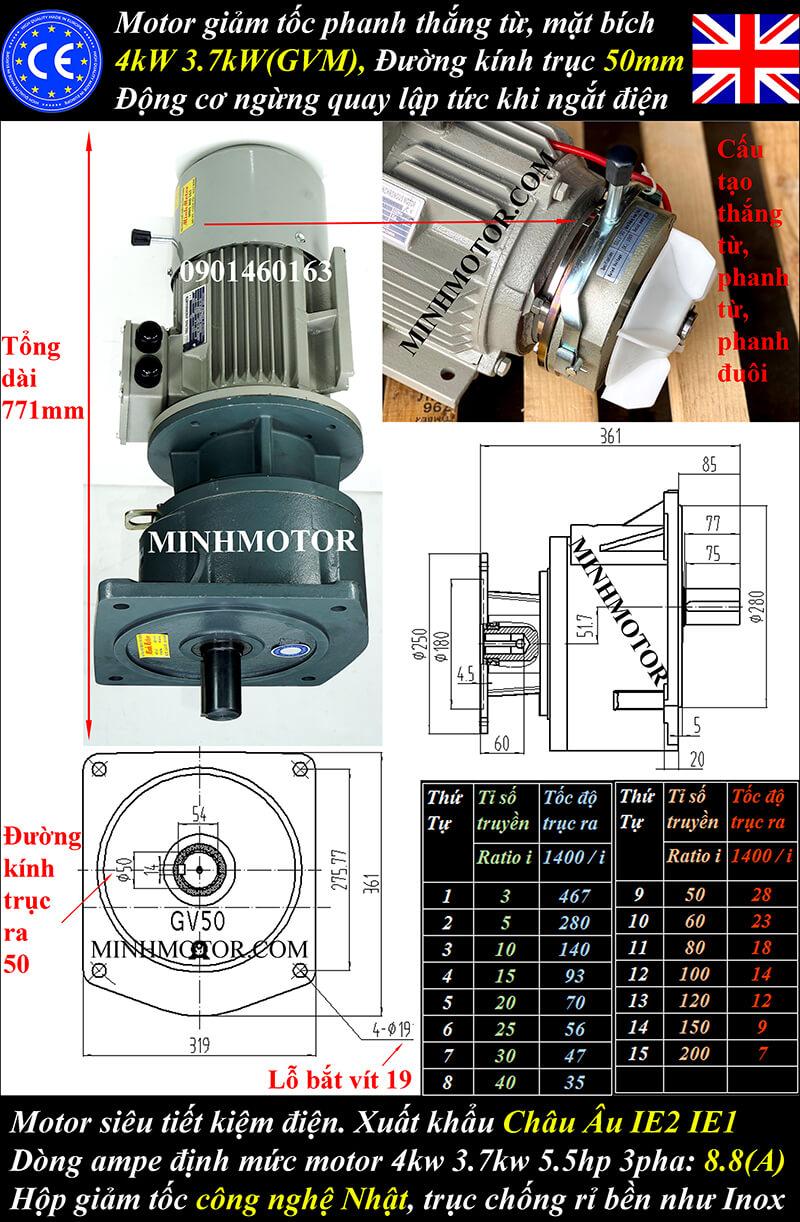 Motor giảm tốc có thắng 4kw 5HP mặt bích trục 50mm