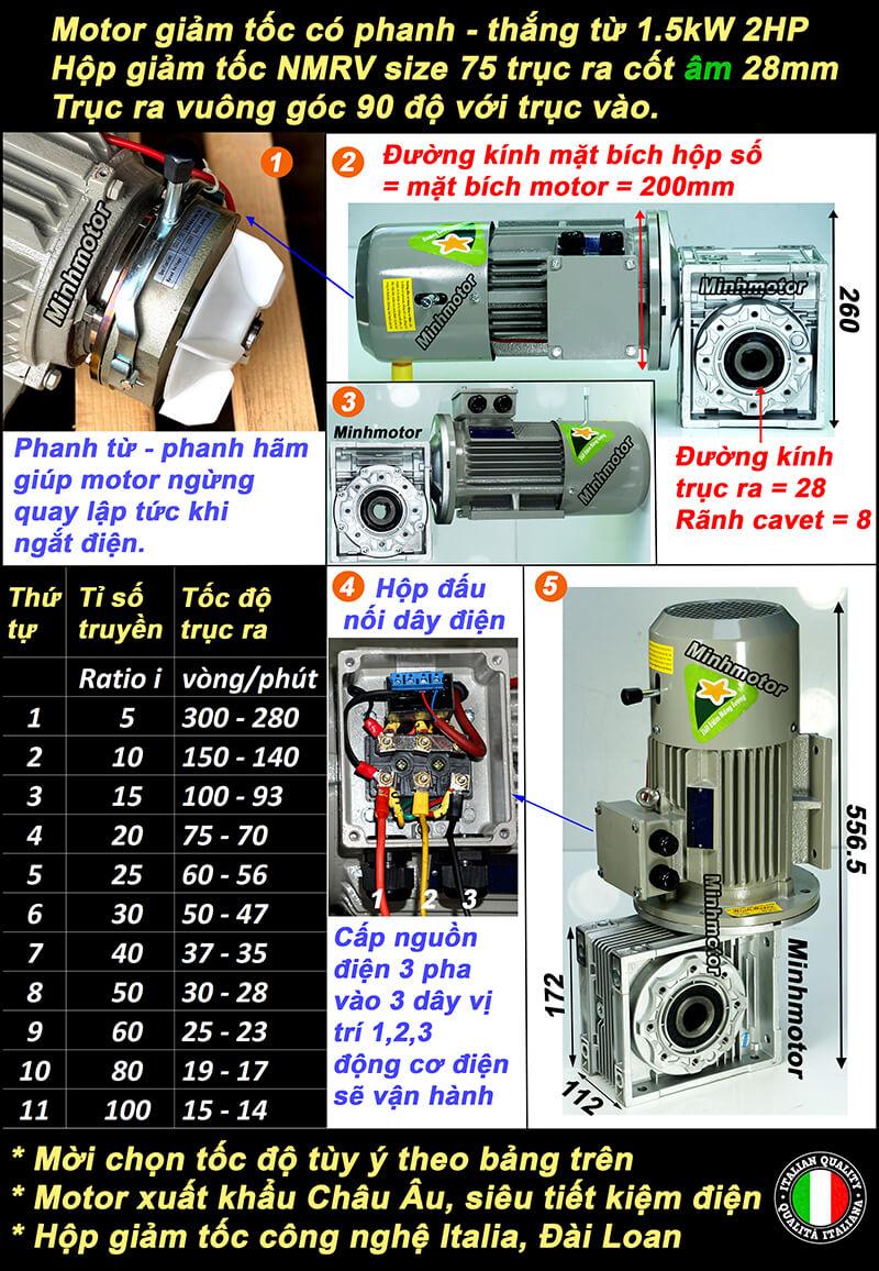 Motor giảm tốc có thẳng 2HP 1.5kw lắp hộp số bánh vít NMRV size 75 cốt âm