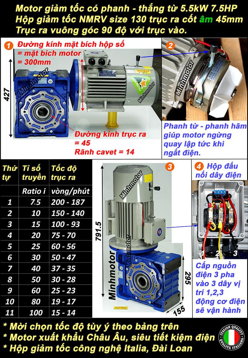 Motor giảm tốc có thắng 7.5HP 5.5kw lắp hộp giảm tốc NMRV size 130 cốt âm