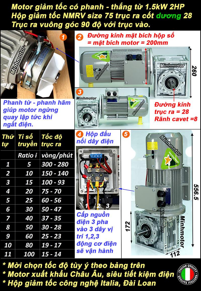 Motor giảm tốc có thẳng 2HP 1.5kw lắp hộp số bánh vít NMRV size 75 cốt dương