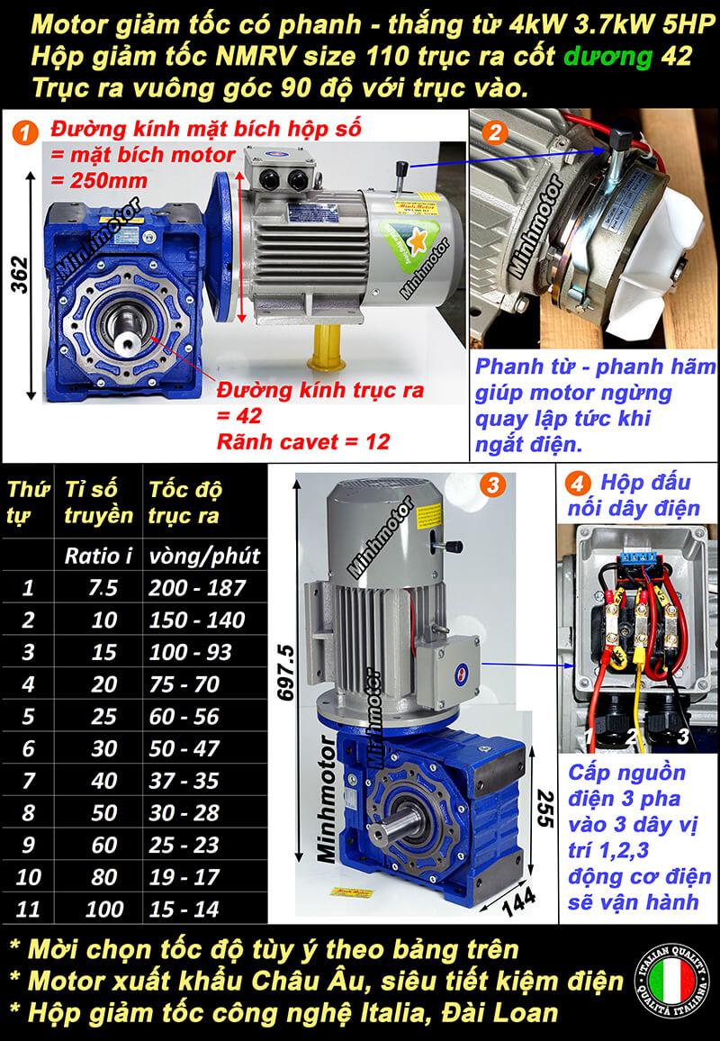 Motor giảm tốc có thắng 5HP 4kw lắp hộp chỉnh tốc NMRV size 110 cốt dương