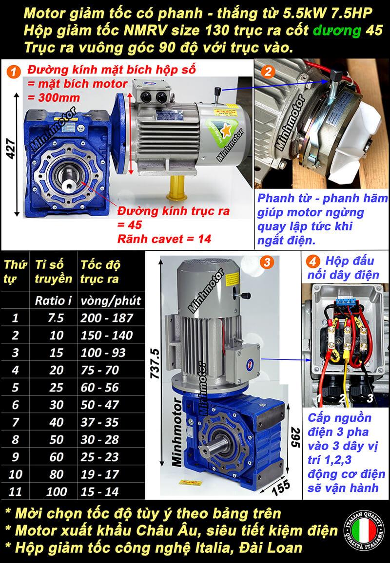 Motor giảm tốc có thắng 7.5HP 5.5kw lắp hộp chỉnh tốc NMRV size 130 cốt dương