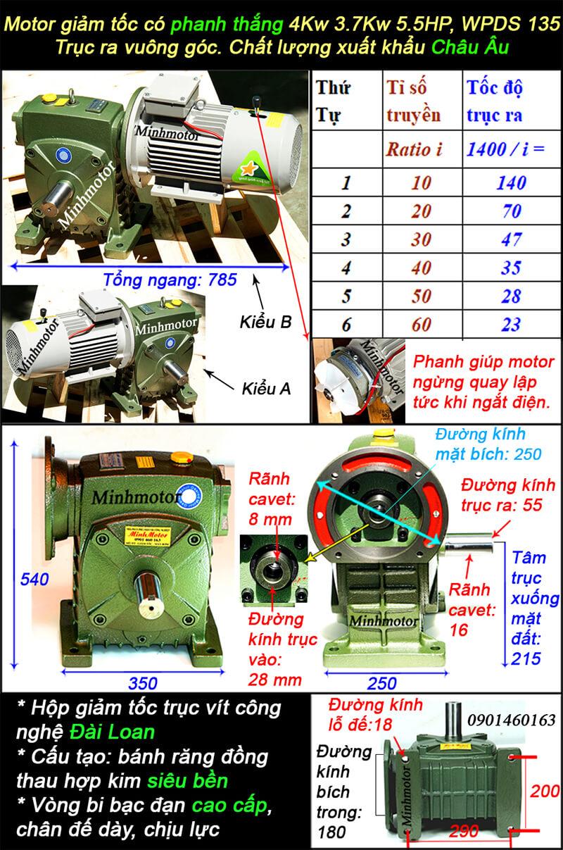 Động cơ giảm tốc có phanh 5HP 4kw lắp với WPDS size 135