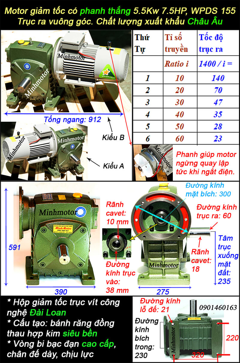 Động cơ giảm tốc có phanh 7.5HP 5.5kw lắp với WPDS size 155