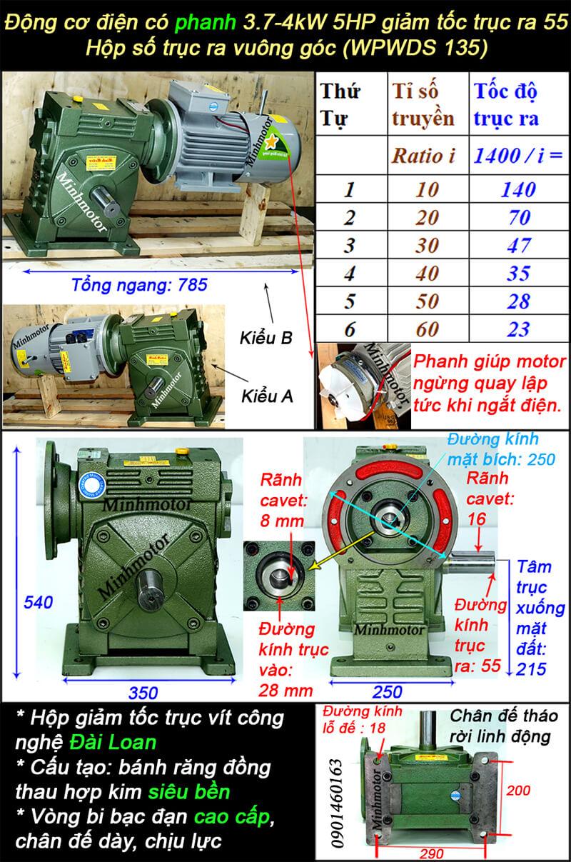 Động cơ giảm tốc có phanh 5HP 4kw lắp với WPWDS size 135