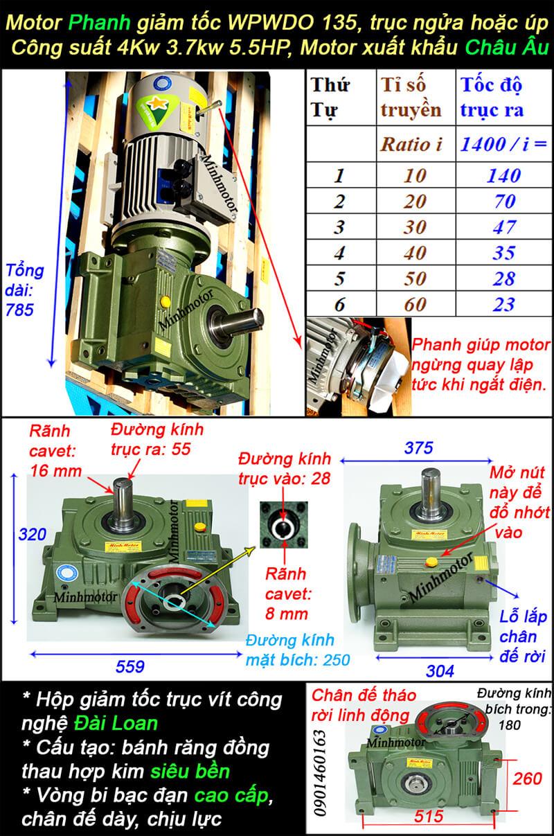 Motor giảm tốc có thắng 5HP 4kw loại trục ra ngửa