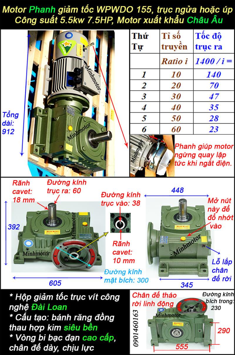Motor giảm tốc có thắng 7.5HP 5.5kw loại trục ra ngửa
