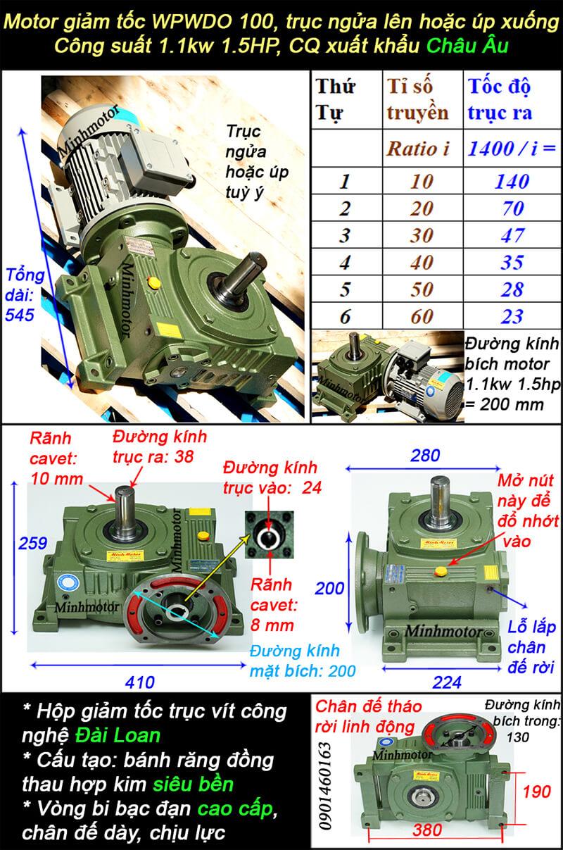 Hộp giảm tốc wpo size 100 lắp motor 1.1kw
