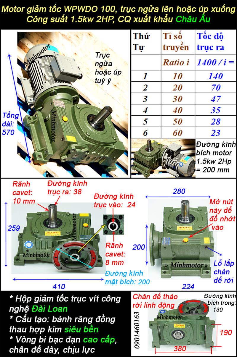 Hộp giảm tốc wpo size 100 lắp motor 1.5kw