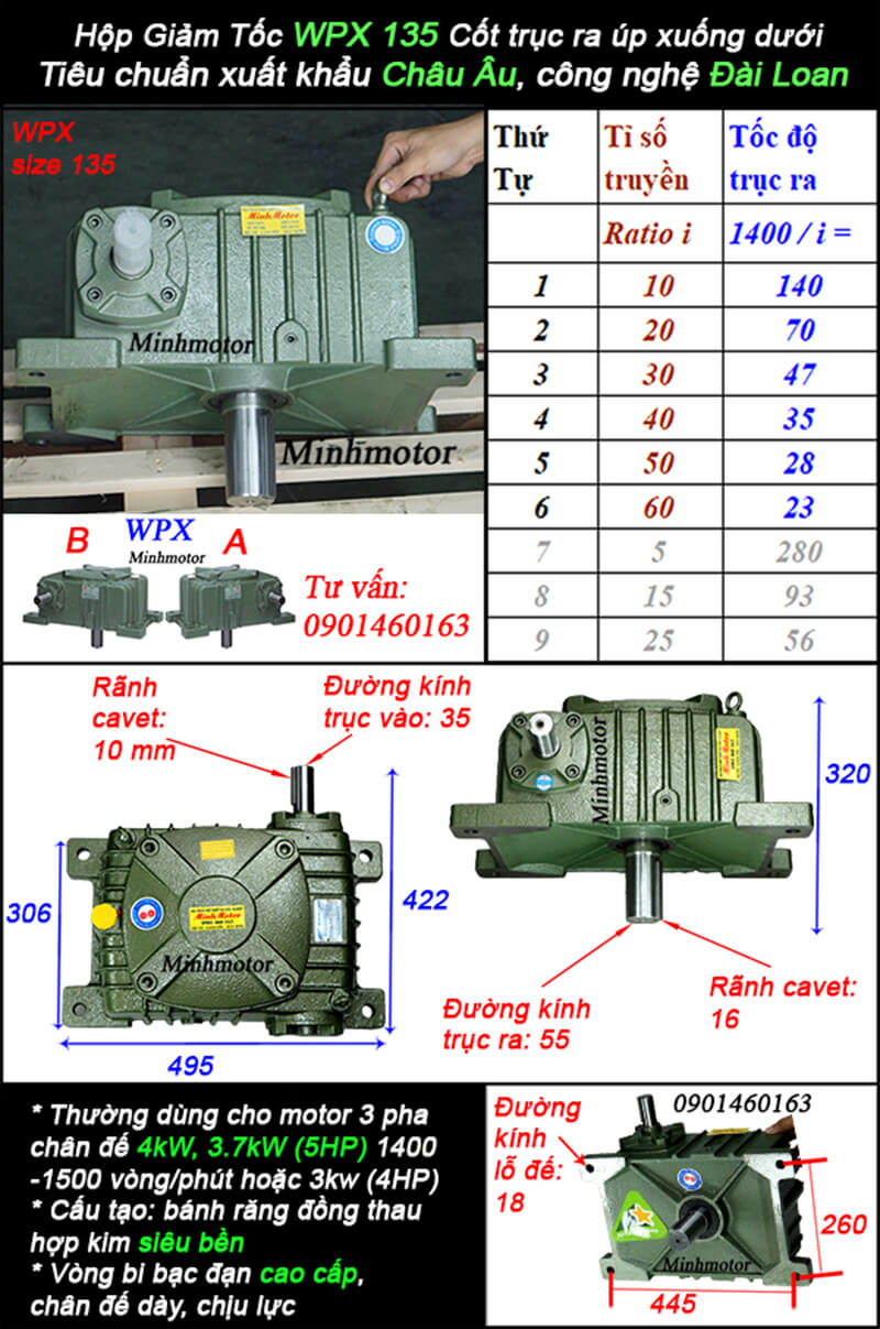 Hộp giảm tốc wpx size 135