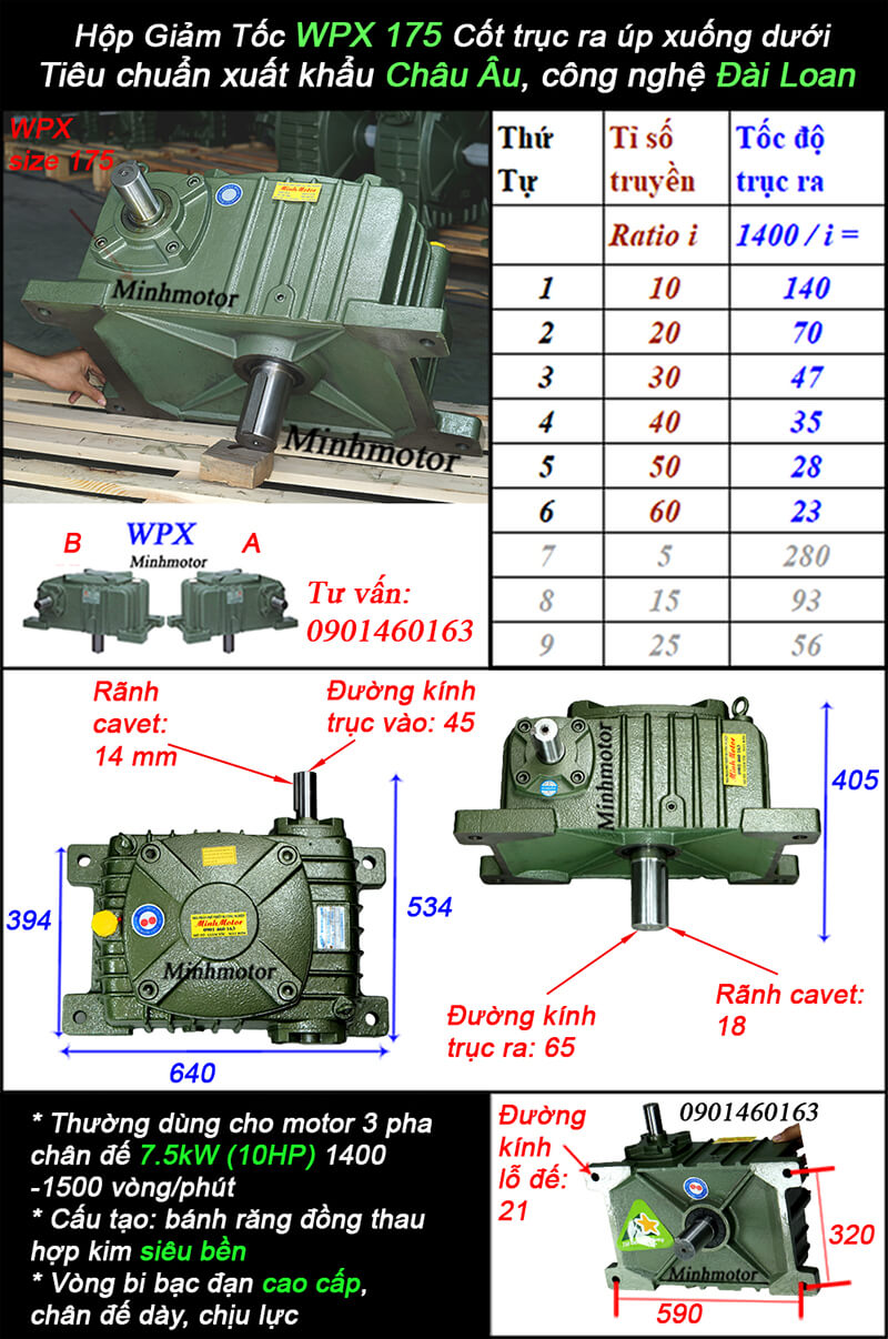 Hộp giảm tốc wpx size 175
