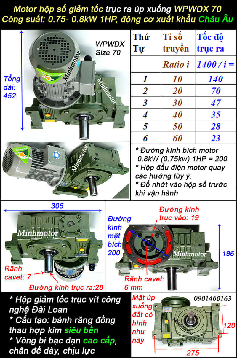 Hộp giảm tốc WPX size 70 mặt bích lắp motor 0.75kw 0.8kw 1hp