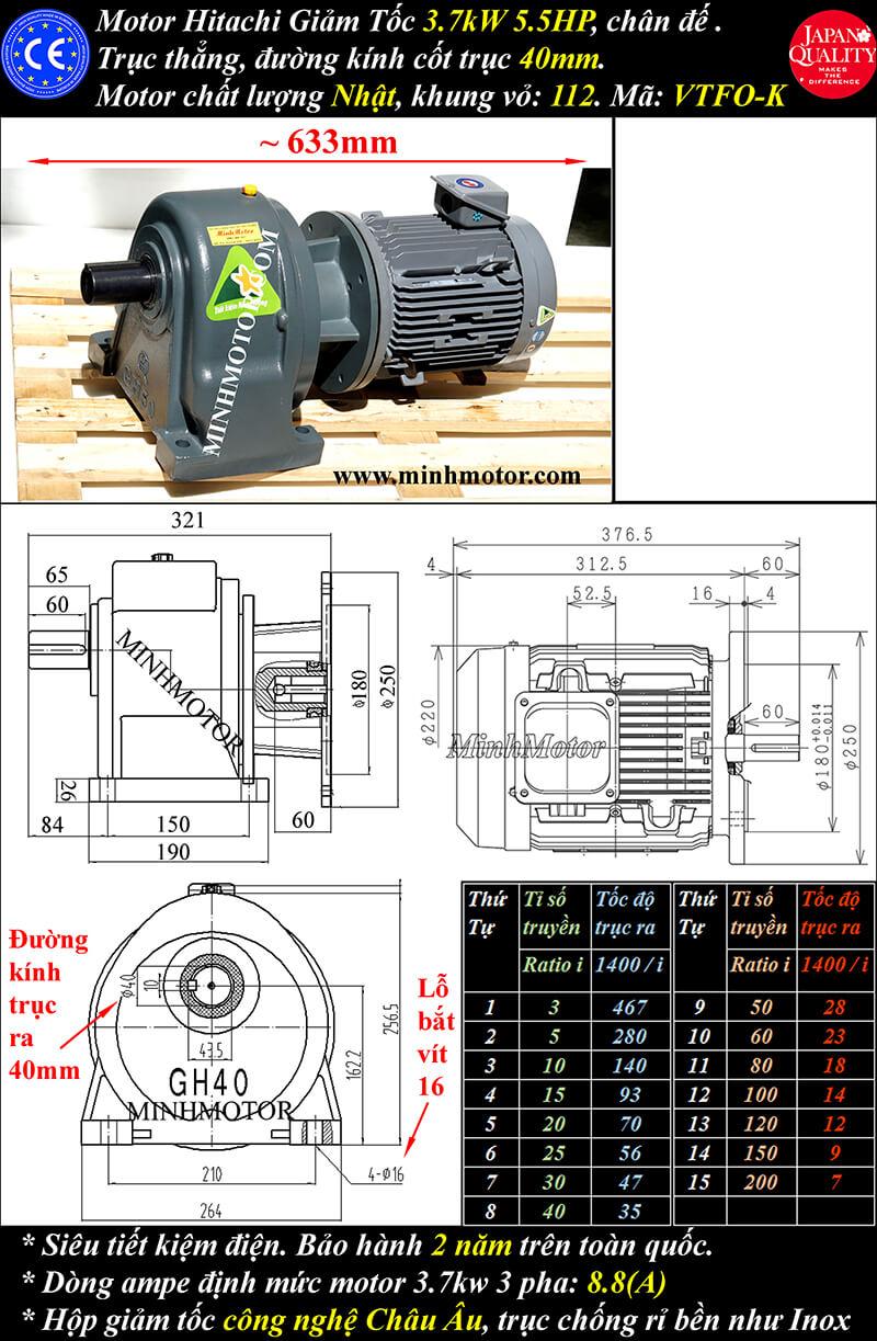 Motor Hitachi 3.7kw 5HP hộp số trục thẳng